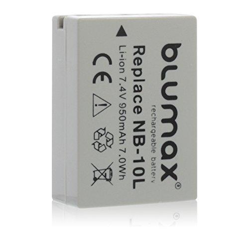 Blumax NB-10L Akku kompatibel mit Canon PowerShot G16 G15 G1 X G3 X und SX40 SX50 SX60 HS 950mAh 7,4V 7,0Whmehr leistung als Original akku