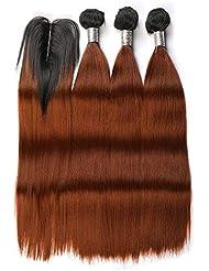 """BLISSHAIR Cheveux Rémy Perruques Tissage Extensions de cheveux Humains 3 Bundles 16"""" OT1B/30 + 12"""" lace Closure"""