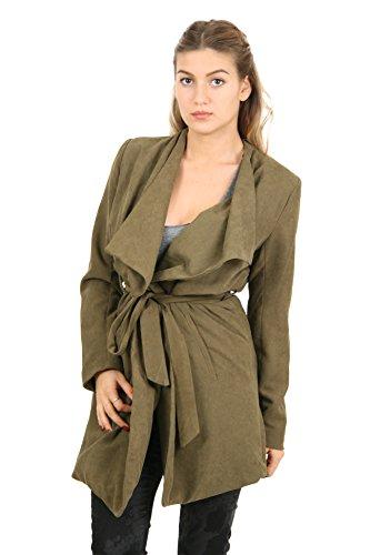 Sunshine - Veste longue avec ceinture à la taille - Femme - M/L - Vert militaire