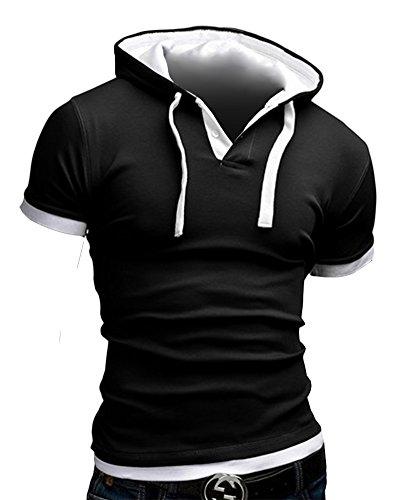 Herren Top T-Shirt mit Kapuze Sport Elastizität Slim Fit Sommer Hoodies Schwarz Weiß