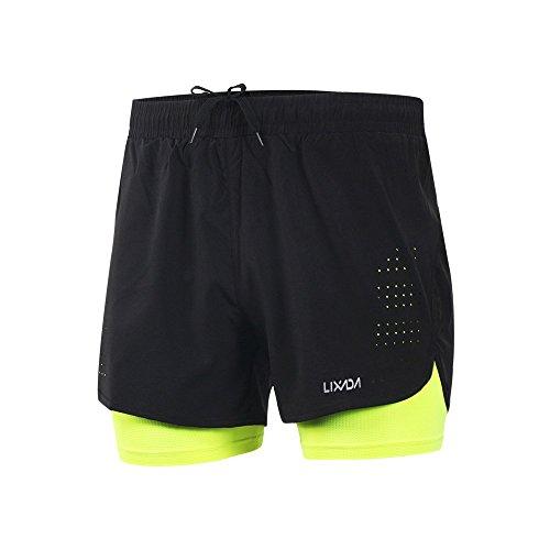 Lixada Hombres Pantalónes Cortos de Running 2-en-1, Pantalones Cortos de Atletismo, Pantalones Cortos...