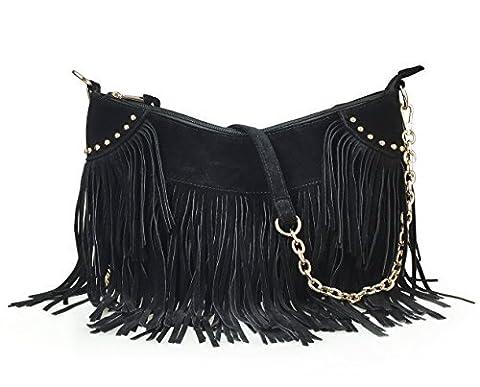 Hoxis Topfashion Tassel Faux Suede Leather Hobo Cross Body Shoulder Bag Womens Skatchel … (Black)
