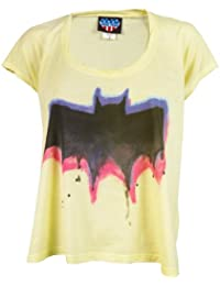 Junk Food Ladies Batman Graffiti Logo T Shirt, Yellow