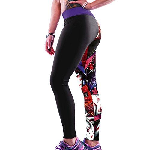 Jiayiqi Femme Séduisante Imprimé Graphique Extensible Sans Pied Legging Chic Collants Mariée Zombie