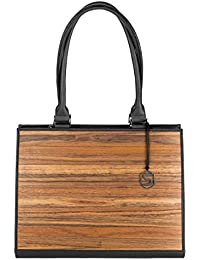 Sebastian Sturm Bolso de mano RUBY | Fabricado con madera auténtica tipo roble ahumado o amazaque y cuero de ternera | Mujer Cartera…