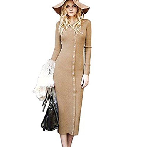 ZEARO Frauen Grund Bodycon Strickkleider 2016 Herbst Winter Casual Langarm Tasten Bleistift Wickeln Langes Kleid Beige