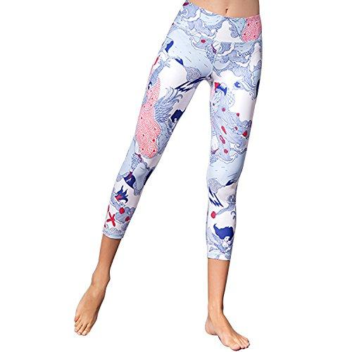 Yoga Leggings Capri Leggings High Waist Cropped Pants Damen Tights Yoga Pants Cropped Leggings Workout Leggings Fitness Sport Pants für Fitness, Tanzen, Laufen, Sport etc, Damen, Style 2, Small -
