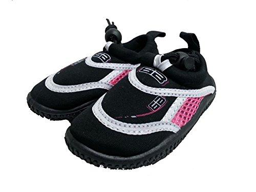 Aqua Chaussures de piscine/plage en néoprène pour chaussures de plongée adulte & de l'usine Rose/Bleu/Rouge Multicolore - Noir/rose