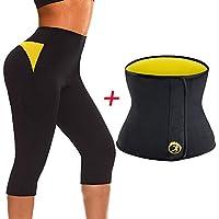 TINGSU 2 Unids Mujeres Hot Thermo Adelgaza Pantalones Capri Entrenador Cintura Body Shaper Entrenamiento Deporte Sauna Traje Pérdida de Peso