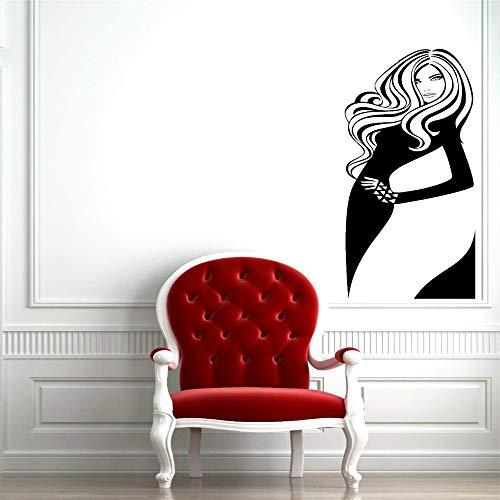 lyclff Schönheitssalon Vinyl Wand Applique Innendekoration Aufkleber Friseur Frisur Mode Mädchen Kunst Wandbild Wandaufkleber ~ 1 25x57cm