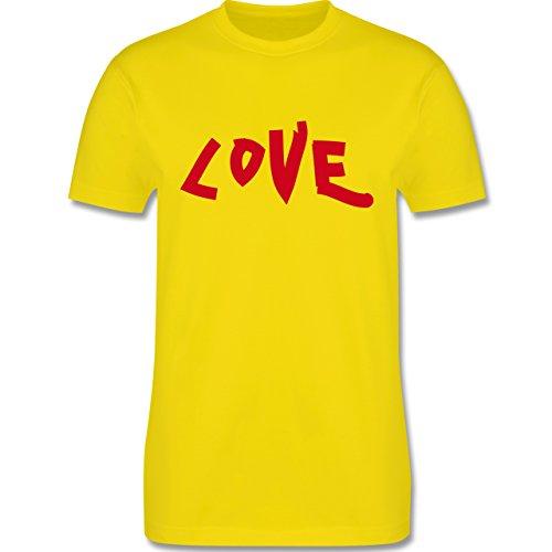 Romantisch - Love - Herren Premium T-Shirt Lemon Gelb