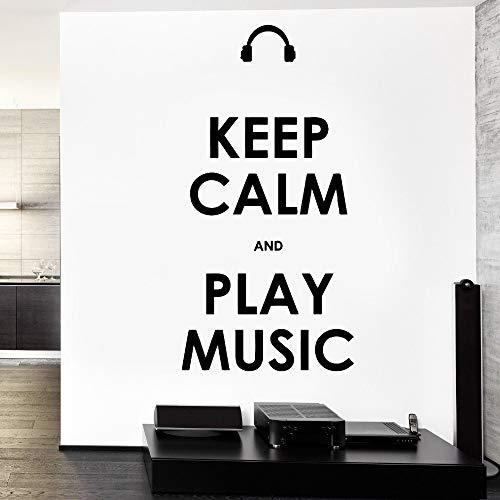 Wall Vinyl Quote Bleib ruhig und spiele Musik Garantiert Qualitätsaufkleber Kaffee 86x171cm -