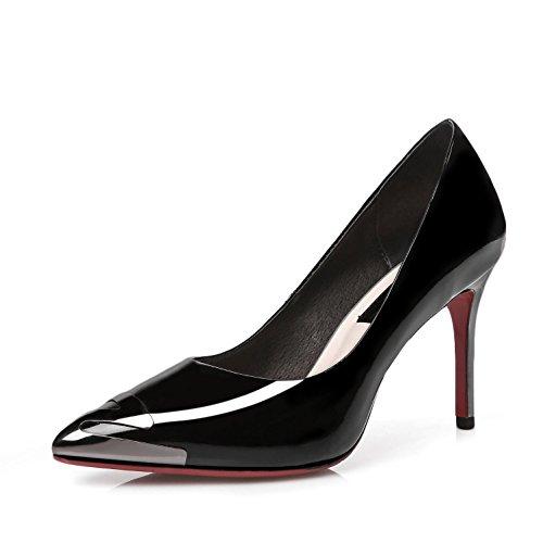 WSS chaussures à talon haut Cuir a fait le morceau de métal des stiletto pointu chaussures à talons avec des chaussures élégantes haut de gamme 4 saisons Black
