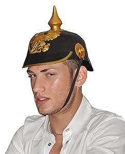 Ciao - Código 79877-Casco de soldado prusiano de PVC, color negro/dorado