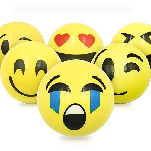 zum kneten Emoji Squeezy Bälle Smiley Antistressball Stresserleichterung für Kinder und Erwachsene 12 Stück Squishy Stressabbau Ball ()