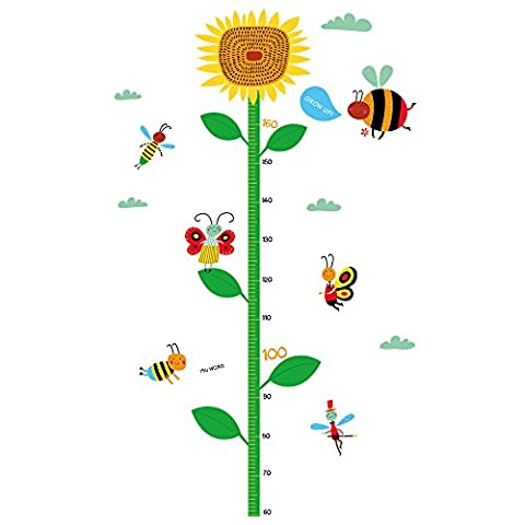 Winhappyhome Sunflower Children's Height Growth Measurement Chart Wall Art Stickers for Kids Room Nursery Kindergarten Background Removable Decor Decals
