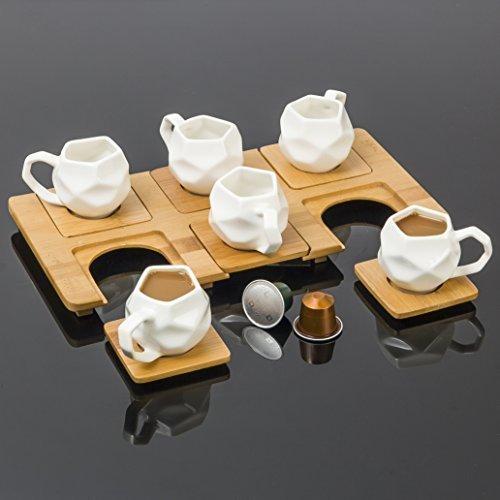 'Ottavia' Set da 13 pezzi per Caffè Espresso con Sottotazzine e Vassoio in Bamboo by Chai Buddy®