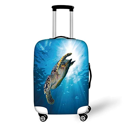 Travel Luggage Cover Suitcase Protector,Turtle,Hawksbill Sea Turtle Dive Deep Into The Blue Ocean Against Sun Rays,Yellow Brown Aqua Blue,for TravelM 23.6x31.8Inch -