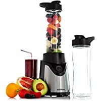 Sensio Home Personal Blender Smoothie Maker - Electric Mini Juicer Perfect for Fruit, Vegetables and Protein Shakes - 2 BPA-Free 600ml Portable Tritan Sports Bottles - 500W - Black/Silver