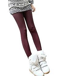 Maxquoia - Pantalones Leggings Polainas Elástico Térmica para Mujer Paño Fino Grueso Cálido de Otoño Invierno