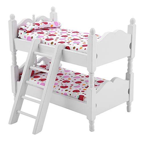 Kinder-schlafzimmer-möbel (Zerodis Puppe Etagenbett 1:12 Holz Kinder Schlafzimmer Modell Spielzeug Miniatur Möbel Szene Requisiten Mini Puppenhaus Zubehör für Jungen Mädchen Geschenk(Rosa Erdbeere))