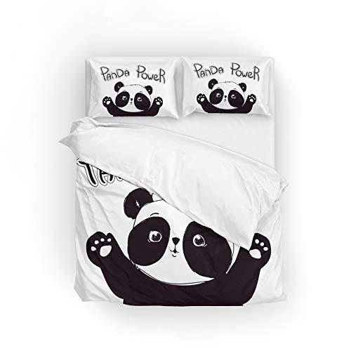 GraciasU Panda Power Mikrofaser Bettbezug-Set mit Kissenbezug 135 x 200 cm  bequem,weich, Reißverschluss
