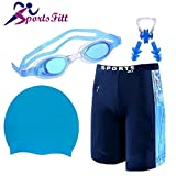 SportsFitt Swimming Combo Kit Regular Fit (28in to 34in) Swimming Short, Goggles, Silicone Cap, 2Pc Ear Plugs, 1 Pc Nose Clip, Swimming Suit