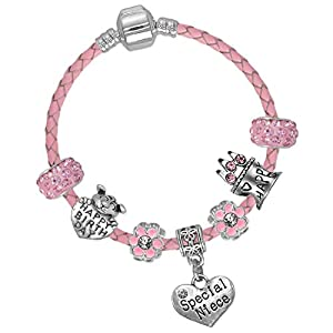 Charm-Armband mit Aufschrift Special Niece, Leder, mit Geschenkbox und Geburtstagskarte