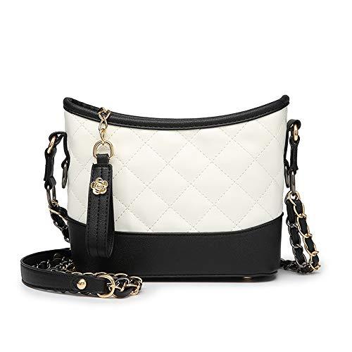 Gungun Vielseitige Damen Umhängetasche Trend Fashion Messenger Bag Klassiker Kleiner Duft Rhombic Wandertasche lässige Kettentasche,BlackAndWhite -