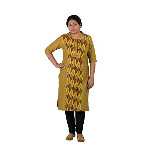 Indo Mood Exclusive Hand Woven Pure Cotton Yellow Kurta With Ajrakh Geometrical Pattern In Natural Dyes (Yellow, Small)