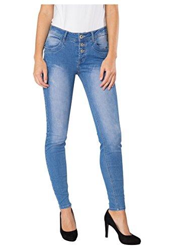 SUBLEVEL Skinny Fit Damen Stretch-Jeans | Blaue 5-Pocket Röhrenjeans mit Destroyed Parts middle-blue M (Verziert, 5-pocket-jeans)