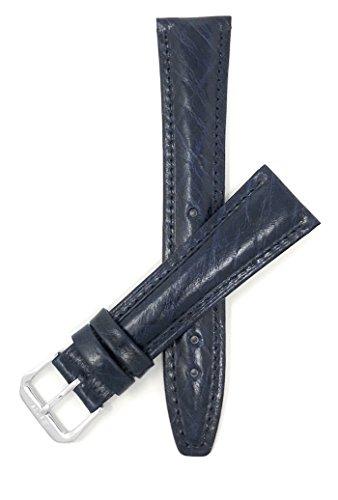 Leder Uhrenarmband 16mm, Blau, klassischer Stil, halbglänzende Oberfläche, auch verfügbar in schwarz, braun, hellbraun und dunkelgrün