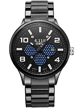 6.11Herren Luxus Military Licht Converting Power Edelstahl Analog Quarz Armbanduhr mit automatischer Tag (schwarz)