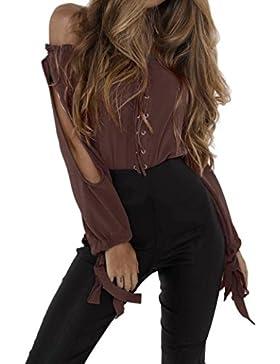 Damen Langarm Top Bluse Frauen T-shirt Shirt Tops (xl, Kaffee)
