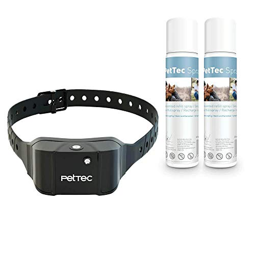 PetTec Antibark Spray Trainer Advance Antibell Erziehungshalsband mit automatischem Sprühsignal, inkl. 2 Sprays (neutral), aufladbarer Akku, staub- und spritzwassergeschützt