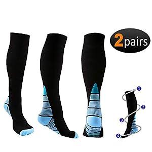 Reehut Kompressionsstrümpfe Damen & Herren, Laufsocken Compression Socks Wandersocken Kompressionssocken für Sport und Medizinisch, 20-30 mmHg, 2 Paar