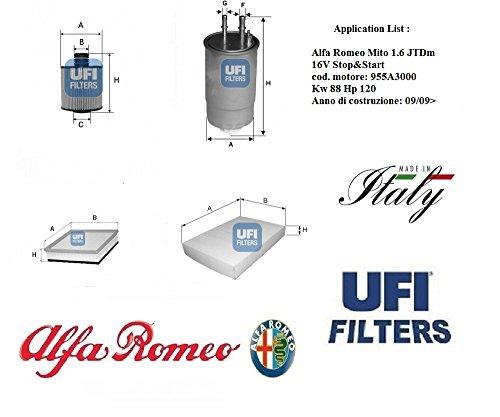 Kit 4 filtri tagliando UFI AlfaRomeo MiTo 1.6 JTDm 16V