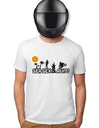 Planète motard - T shirt moto sea sex and run - T shirt motard - T shirt blanc