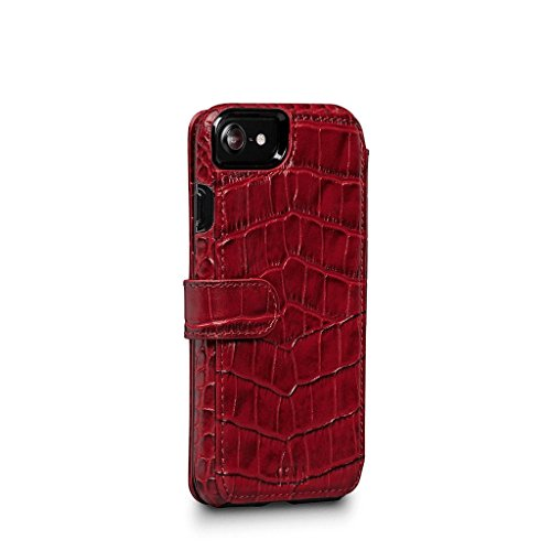 WalletBook Classic Leder Folio Fall, for iPhone 8/7, Croco Red Walletbook Case
