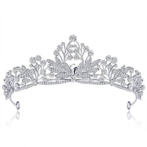 FGEUDT-KJHI Braut Krone Tiara kreative Kristall Mode Diamant Hochzeit Braut Brautjungfer Geburtstag Prinzessin Königin Schleier passenden Schmuck (Königin Kostüme Regina)