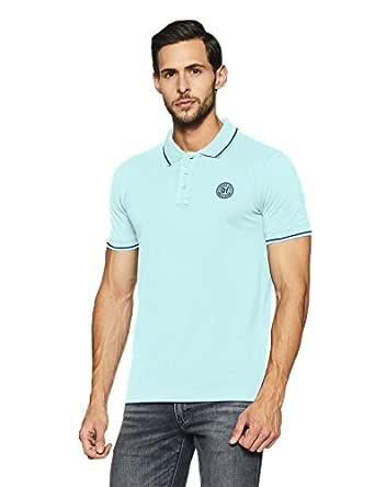 Hanes Men's Solid Regular Fit Polo (PH76-046-PL_Aqua Splash_Small)