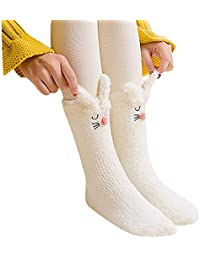 VJGOAL Mujeres Invierno Moda casual Color sólido Cálido Coral polar Crochet Calcetines lindo conejo Dormir calcetines