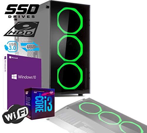 PC DESKTOP GAMING INTEL QUAD CORE I3-8100 UP TO 3,6 GHZ/CASE IN VETRO MYKA CRISTAL SMERALD CON 3 VENTOLE HALO VERDE/MB HDMI VGA DVI/RAM 8GB DDR4/SSD 240GB +HD 500GB/WIFI 300MB/WINDOWS 10 PRO