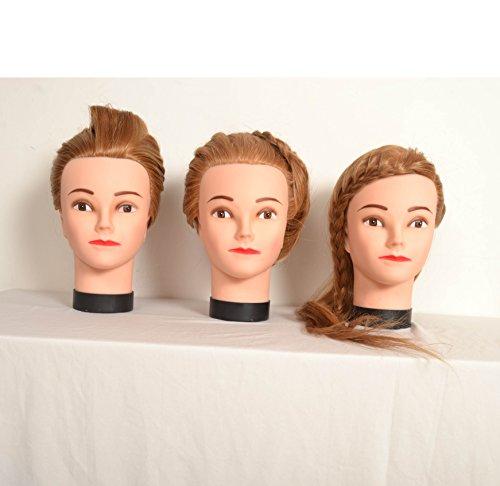 2 x tête d'entraînement de coiffure cheveux. Cheveux 30% humains, plus un serrage sans outils, peut être utilisé avec chaleur.