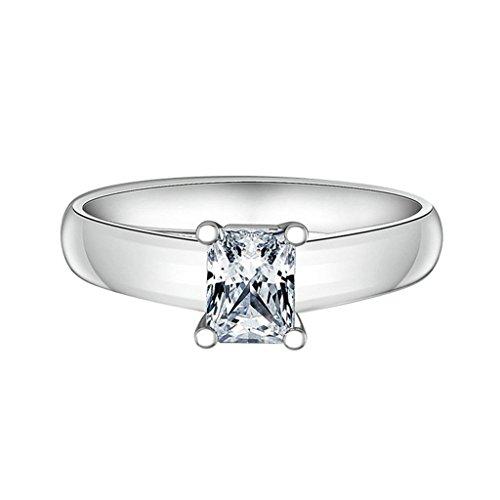 Daesar Joyería Anillos de Compromiso de Plata S925 Mujer, Halo de Talla Princesa con Diamantes Pavé Alianzas de Boda, Tamaño 20