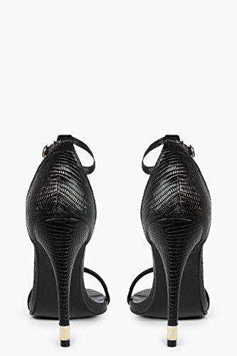 Damen Schwarz Isabella Zweiteilige Sandalen Mit Absatz Schwarz