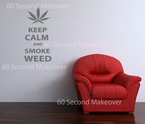 60 Second Makeover Limited Keep Calm Und Rauchmelder Unkraut Neuheit Wandaufkleber Kanne Joint...