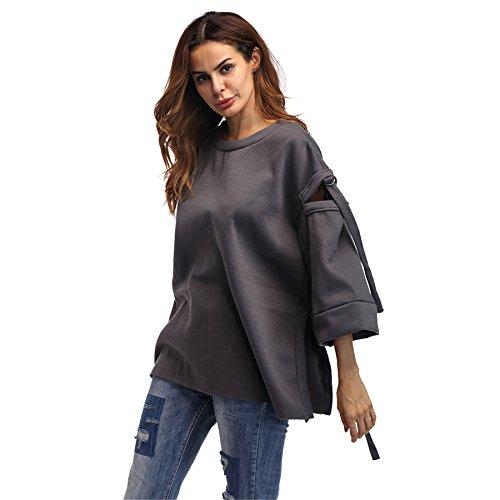 szivyshi Manches 3/4 Bell Sleeve Découpée à Découpes Metal Ring à Nouer Fentes Fendue Fendu Dos Destressed Sweatshirt Sweat-Shirt Chemise Shirt T-Shirt Tee Boxy Haut Top Gris