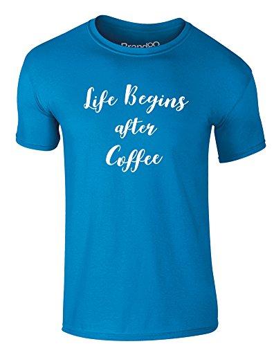 Brand88 - Life Begins After Coffee, Erwachsene Gedrucktes T-Shirt Azurblau/Weiß