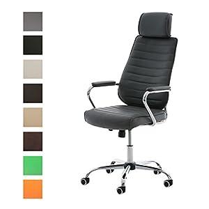 41HvPqdIALL. SS300  - CLP-Silla-de-escritorio-RAKO-con-acolchado-grueso-y-de-calidad-Con-tapizado-de-cuero-sinttico-La-altura-del-asiento-es-regulable-46-57-cm-Tiene-reposabrazos-apoyacabezas-y-funcin-de-balanceo-gris